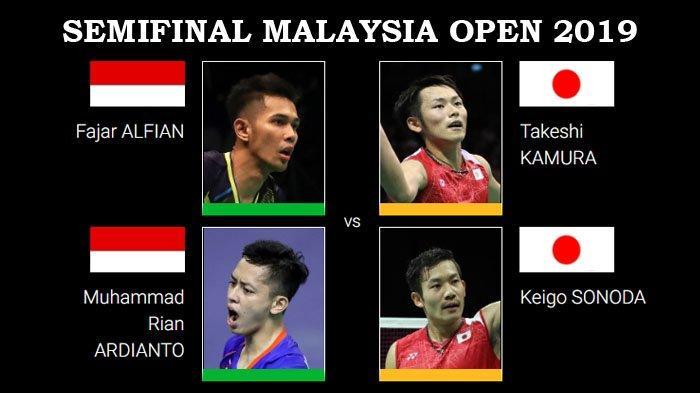 Jadwal Semifinal Malaysia Open 2019 - Jonatan Vs Chen Long dan Fajar/Rian Vs Kamura/Sonoda