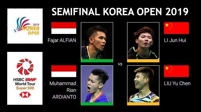 Hasil dan Live Streaming Semifinal Korea Open 2019 - Fajar/Rian Lawan Wakil China Li/Liu Sesat Lagi