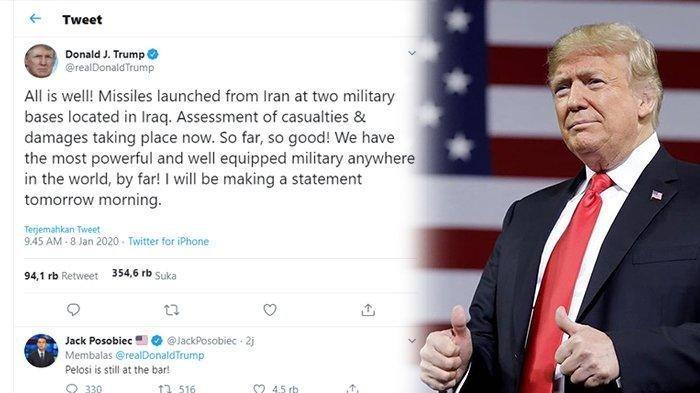Iran Serang Pangkalan Militer AS di Irak, Donald Trump Balas dengan Cuitan di Twitter