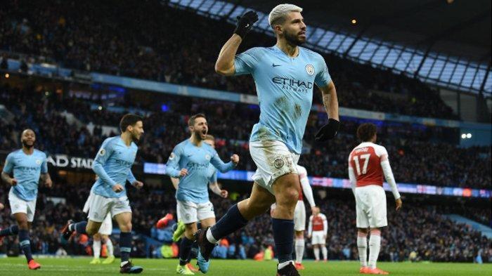 Hasil Liga Inggris - Manchester City Menang 3-1 dari Arsenal, Hattrick Aguero di Etihad Stadium