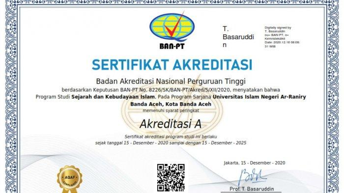 Sertifikat Akreditasi Prodi SKI UIN Ar-Raniry