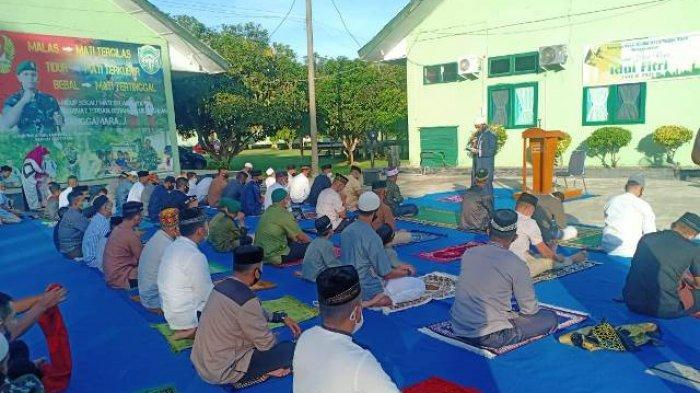 Pandemi Covid-19, Kodim Nagan Raya Adakan Shalat Idul Fitri 1442 Hijriah di Makodim