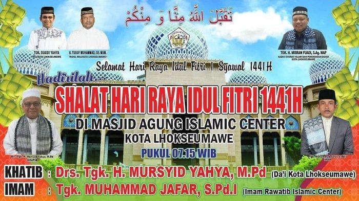 Shalat Idul Fitri di Lhokseumawe Dipusatkan di Islamic Center, Ini Imam dan Khatibnya