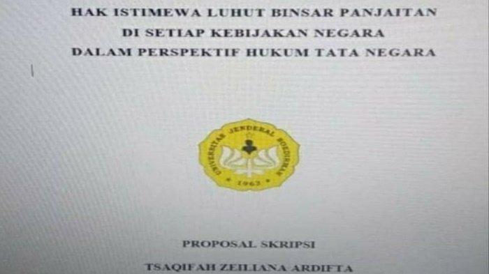 Viral Skripsi Mahasiswa Unsoed Tentang Hak Istimewa Luhut Pandjaitan Ini Penjelasan Kampus Serambi Indonesia