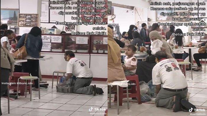 Demi Cari Nafkah, Seorang Ayah Rela Menggelesot di Lantai Untuk Jajakan Dagangan