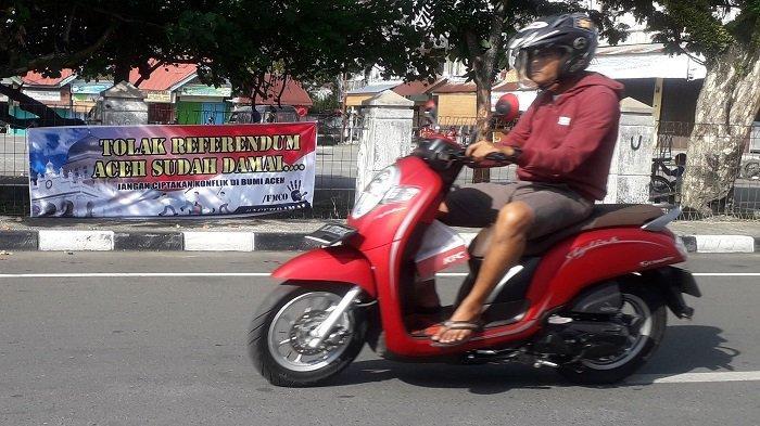 Spanduk Tolak Referendum Aceh Muncul Lagi di Meulaboh