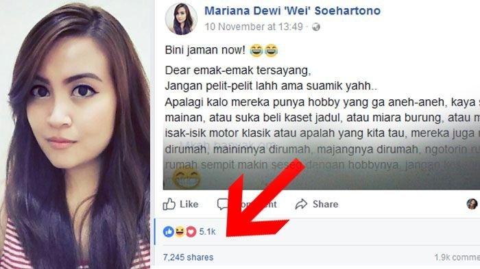 Status Bini Jaman Now Di Facebook Viral Ribuan Suami Bagikan Statusnya Halaman All Serambi Indonesia