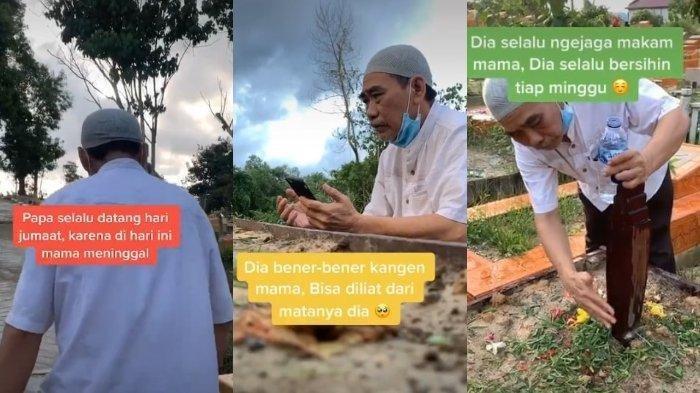 VIRAL Kisah Suami Selalu Ziarah ke Makam Istri setiap Hari Jumat, Berdoa dan Bersihkan Rumput