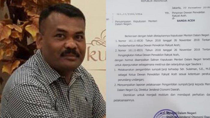 Diusul Partai Aceh Gantikan Tgk Muharuddin, Mendagri Setujui Sulaiman Sebagai Ketua DPRA