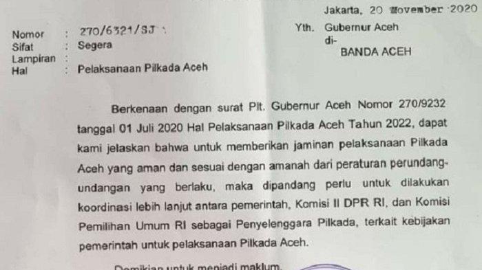 Pilkada Aceh Tahun 2022 Masih Teka teki, Ini Tersirat dari Surat Mendagri ke Gubernur, Begini Isinya