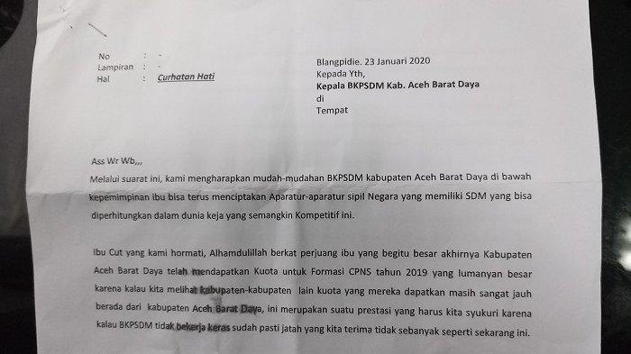 Lewat Sepucuk Surat, Peserta CPNS Abdya Curhat kepada Panselda, Simak Curahan Hatinya