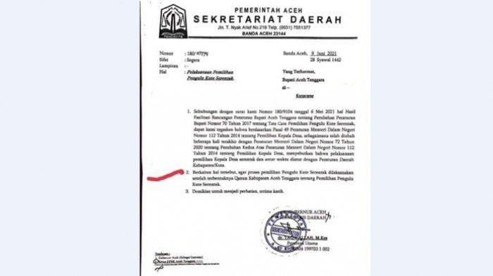 Surat Gubernur ke Bupati Aceh Tenggara
