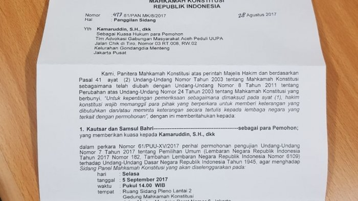 Ini JadwalSidang Gugatan UU Pemilu oleh Kautsar dan Tiong