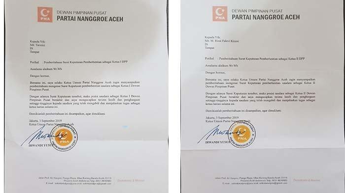 BREAKING NEWS - Irwandi Pecat Wak Tar dan Falevi dari Kepengurusan PNA, Surat Diantar dengan Sedan
