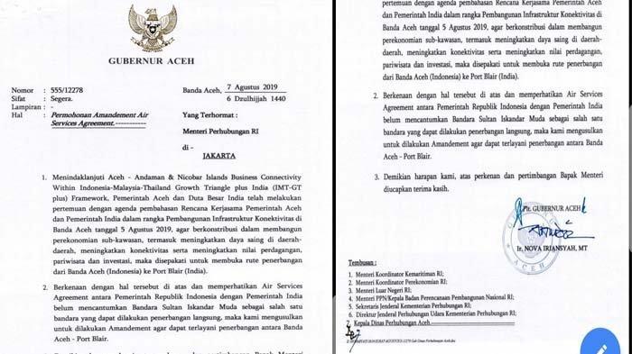 Setelah Bertemu Dubes India, Plt Gubernur Surati Menhub Minta Dibukanya Rute Terbang Aceh-Andaman