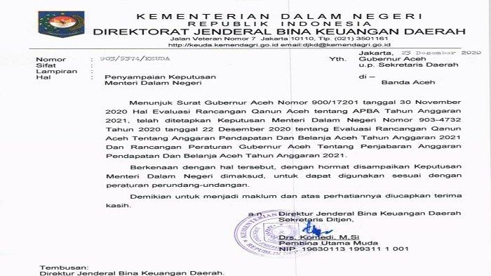 Kemendagri Larang Pokir Dpra Rp 2 7 T Ini Bunyi Surat Tentang Evaluasi Apba 2021 Serambi Indonesia