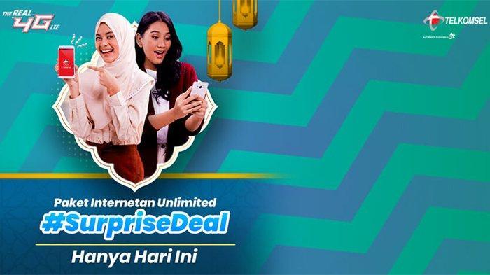 Khusus Hari Ini,Paket SurpriseDeal Unlimited Telkomsel Mulai Rp 100 Ribu Dapat 50GB,Segera Aktifkan!