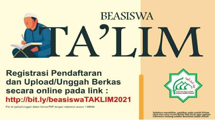 Syarat dan Kriteria Penerima Beasiswa Ta'lim Baitul Mal Aceh Tahun 2021
