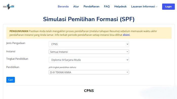 Tampilan halaman 'info lowongan' di SSCASN setelah mengalami perubahan, bisa mencari semua formasi CPNS sesuai kualifikasi pendidikan di seluruh instansi.