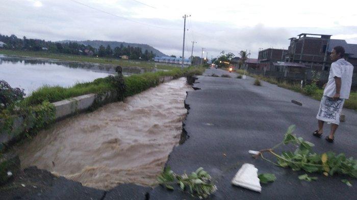 Tanggul Irigasi dan Jalan ke PIC Amblas, Akibat Hujan Deras, Begini Kondisinya