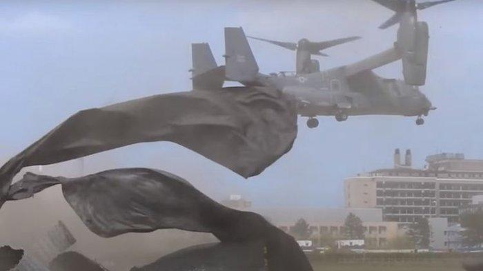 Video Helikopter Angkatan Udara Amerika Serikat Hancurkan Landasan RS Inggris Saat Lepas Landas