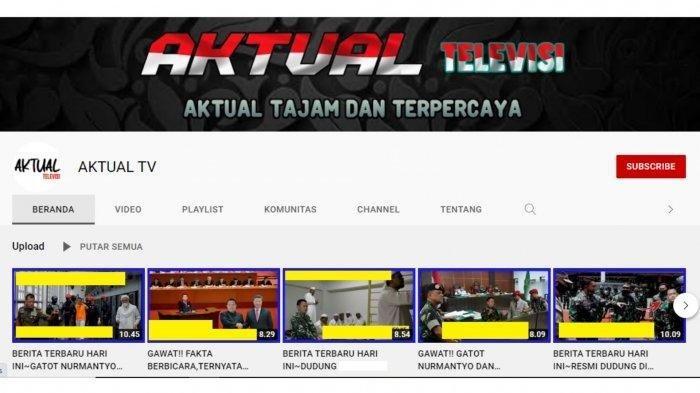 Tangkapan layar tampilan kanal YouTube Aktual TV
