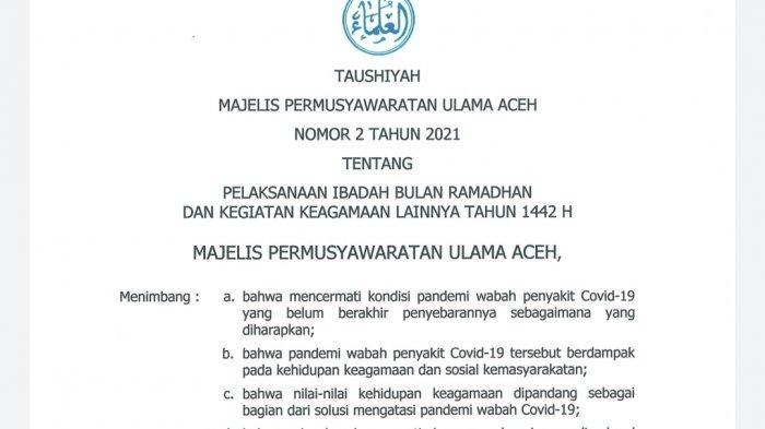 Ibadah di Tengah Pandemi, MPU Aceh Terbitkan Taushiyah Tentang Kegiatan Selama Bulan Puasa