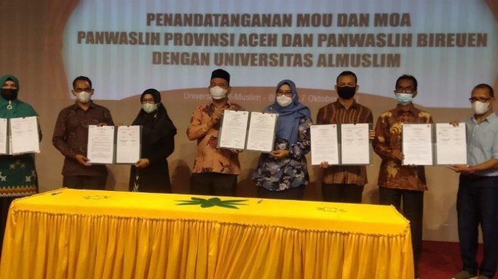 Panwaslih Aceh, Panwaslih Bireuen, dan Umuslim Bireuen Tandatangani MoU dan MoA