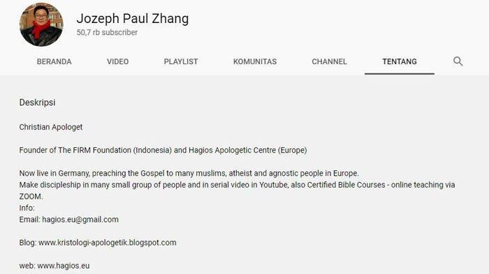 Kolom 'Tentang' Kanal YouTube Jozeph Paul Zhang