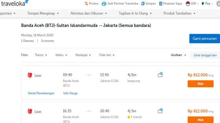 Harga Tiket Pesawat Banda Aceh Tujuan Jakarta Turun Gara Gara Virus Corona Rp 912 000 Per Orang Serambi Indonesia