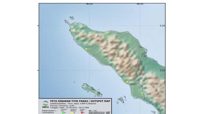 Hari Ini, Minggu (26/9/2021) Terpantau Empat Titik Panas di Aceh, Ini Lokasi- Lokasinya