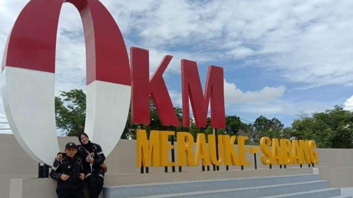 Usai Touring 73 Hari dan Tempuh 10.000 Km, Pasutri dari Aceh Tiba di Nol Kilometer Merauke