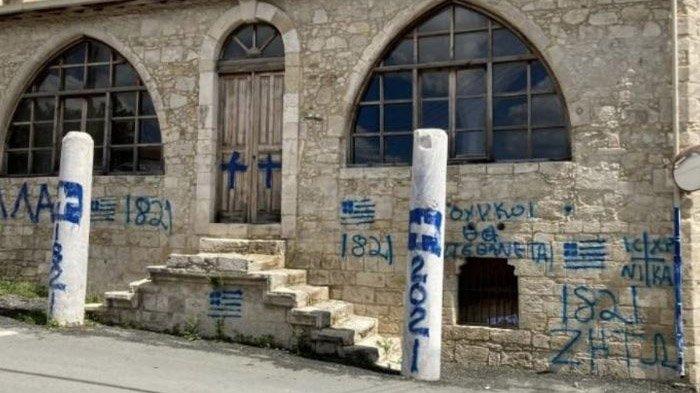 Turki Kutuk Serangan Masjid di Yunani, Sebut Tindakan Provokasi Gambar Lambang Salib di Pintu Masjid