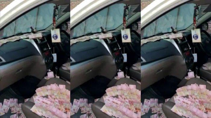 VIRAL VIDEO Mobil Pendukung Paslon Pilkada Bupati di Mojokerto Dipenuhi Uang Rp 100 Ribu Berserakan