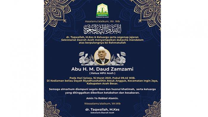 Ucapan Duka dari Sekda Aceh atas Meninggalnya Abu Daud Zamzami