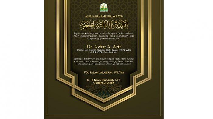 Ucapan Duka Cita dari Pemerintah Aceh atas Berpulang ke Rahmatullah Dr Ir Azhar A Arif MT