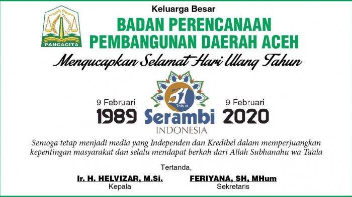 Ucapan Selamat dari Badan Perencanaan Pembangunan Daerah Aceh