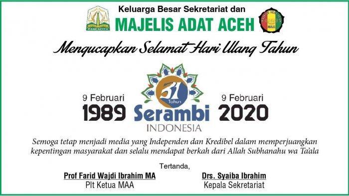 Ucapan Selamat HUT ke-31 Harian Serambi Indonesia dari Majelis Adat Aceh