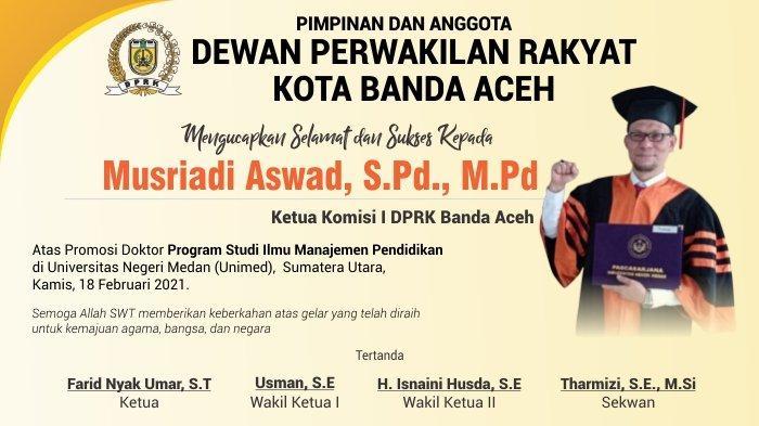 Ucapan Selamat Kepada Musriadi Aswad dari DPRK Banda Aceh