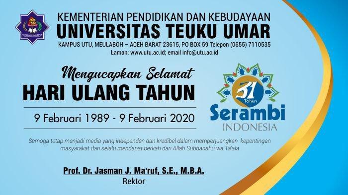 Ucapan Selamat HUT Serambi Ke-31 dari Universitas Teuku Umar