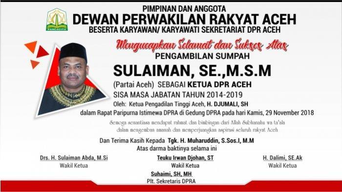 Ucapan Selamat dari Badan Perencanaan Pembangunan Daerah Aceh untuk Sulaiman, SE.,M.S.M