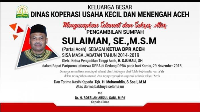 Ucapan Selamat dari Dinas Koperasi Usaha Kecil Dan Menengah Aceh untuk Sulaiman, SE.,M.S.M