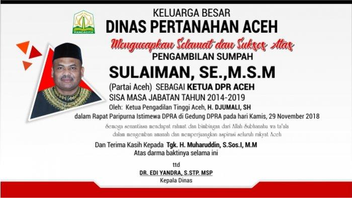 Ucapan Selamat dari Dinas Pertanahan Aceh untuk Sulaiman, SE.,M.S.M