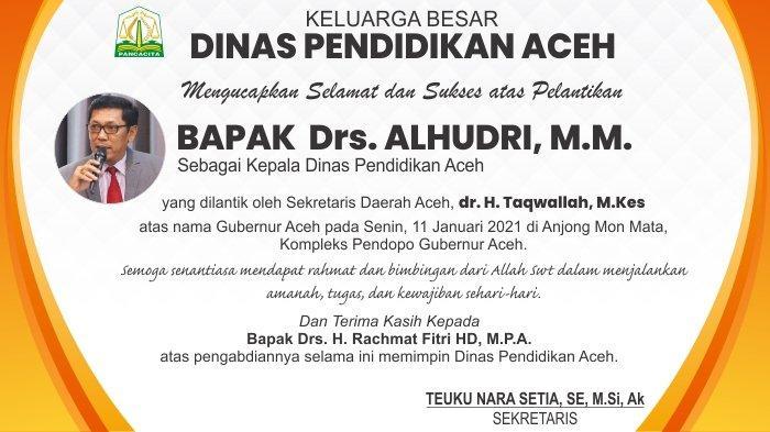 Ucapan Selamat kepada Kepala Dinas Pendidikan Aceh Bapak Drs. ALHUDRI, M.M