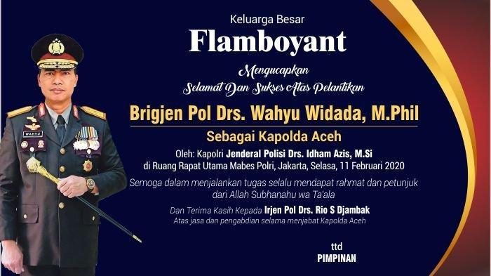 Ucapan Selamat Dan Sukses Atas Pelantikan Kapolda Aceh Dari Keluarga Besar Flamboyant Serambi Indonesia