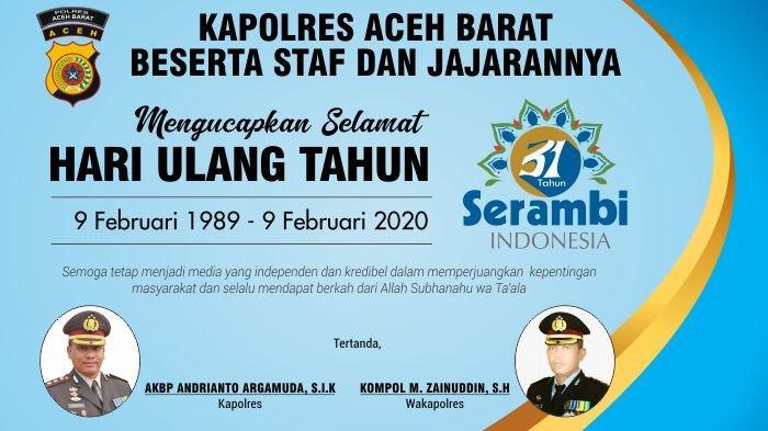 Ucapan Selamat HUT Serambi Indonesia ke-31 dari Kapolres Aceh Barat