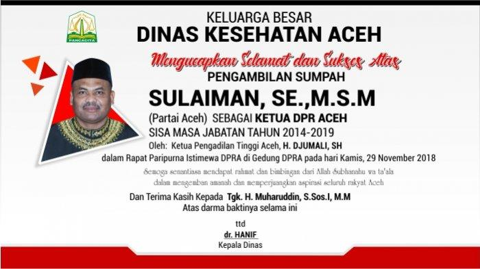 Ucapan Selamat dari Dinas Kesehatan Aceh untuk Sulaiman, SE.,M.S.M