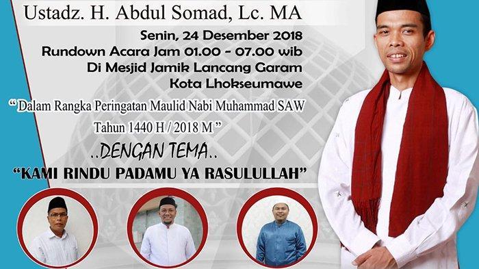 UstadzSomadIsi Ceramah Subuh di Masjid Jamik Lancang Garam Lhokseumawe, Ini Jadwalnya
