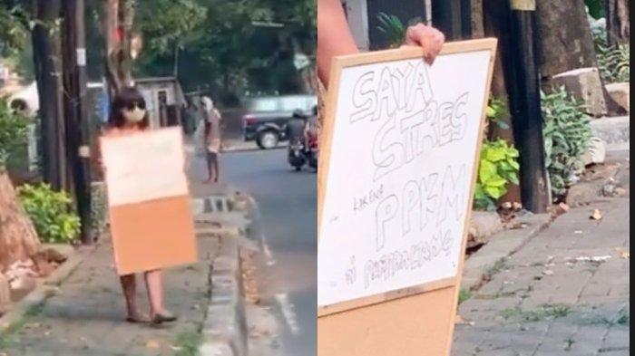 Video Dinar Candy melakukan aksi pakai bikini di jalanan beredar luas di platform Twitter.