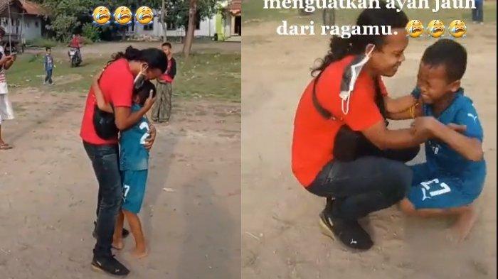 VIRAL! 6 Tahun Terpisah, Tangis Bocah Ini Pecah saat Jumpa Ayahnya di Lapangan, Videonya Bikin Haru